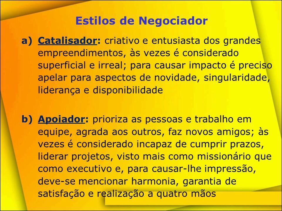 Estilos de Negociador c)Controlador: toma decisões rápidas, organizado, conciso, objetivo, com sentido de urgência e muitas vezes é considerado insensível.