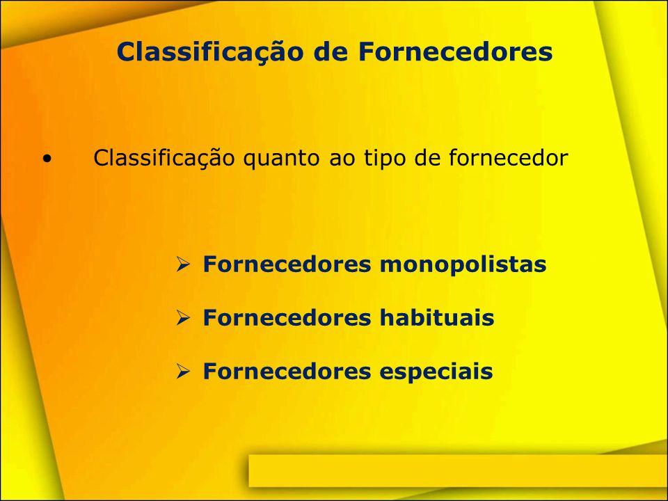 Classificação de Fornecedores Fornecedores monopolistas O fornecedor é o único no mercado Grau de atendimento e relacionamento dependem do volume de compra O interesse na negociação parte do comprador