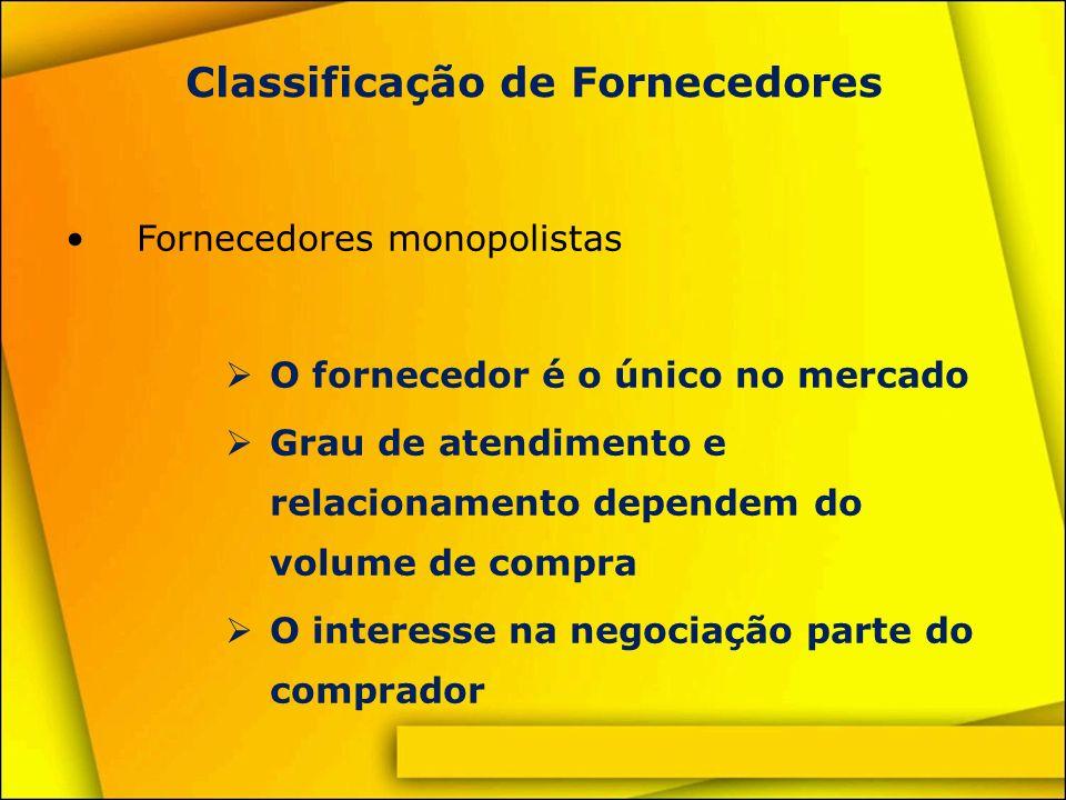 Classificação de Fornecedores Fornecedores habituais Fornecedores tradicionais consultados nas cotações Linha de produtos padronizada e comercial Interessados na negociação, em função da concorrência