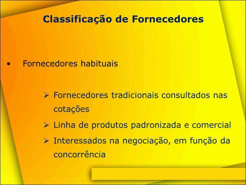Classificação de Fornecedores Fornecedores especiais Para negócios ocasionais Utilizam equipamentos e/ou processos muito especializados