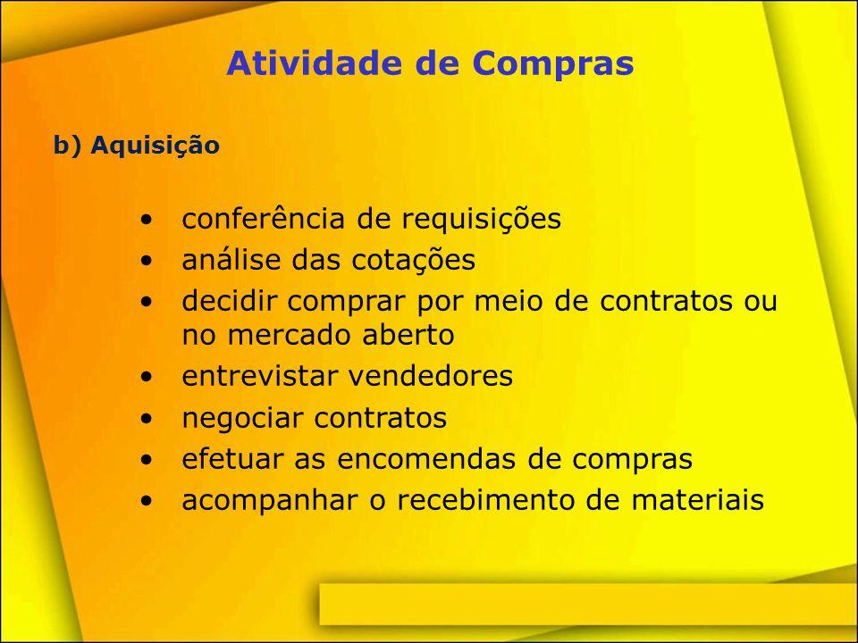 Atividade de Compras c) Administração manutenção de estoques mínimos transferências de materiais evitar excessos e obsolescência de estoque padronizar o que for possível