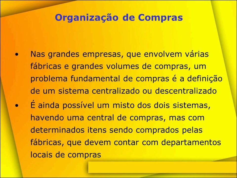 Descentralização de Compras Vantagens: Menores distâncias geográficas Menores prazos na aquisição dos materiais Facilidade de diálogo