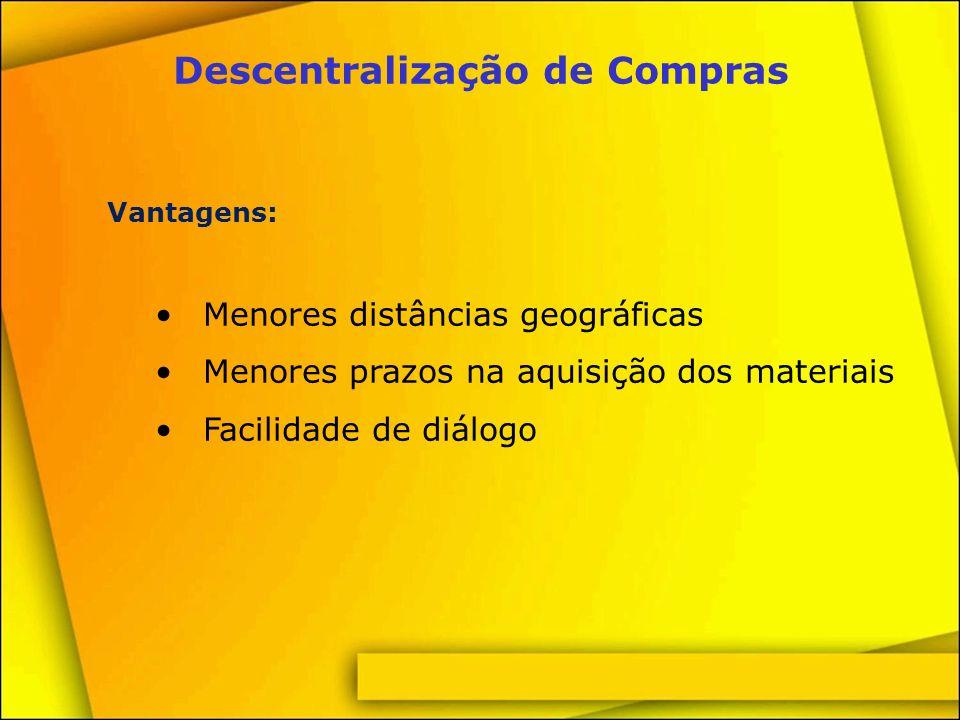 Centralização de Compras Vantagens: Negociação de maiores volumes de materiais Homogeneidade da qualidade dos materiais comprados Facilidade no controle de estoques