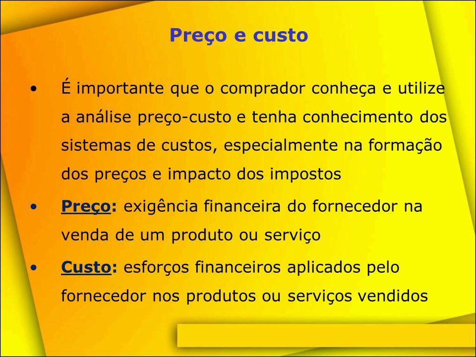 Questões sobre preço e custo Como o fornecedor estabelece seu preço.