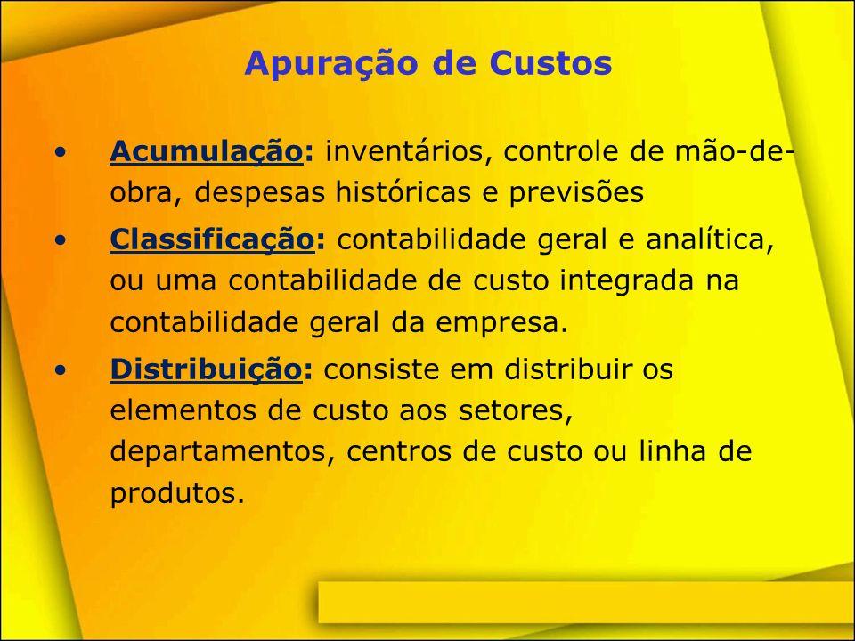 Processos de Apuração de Custos Apropriação: é basicamente a distribuição das despesas entre os produtos fabricados.