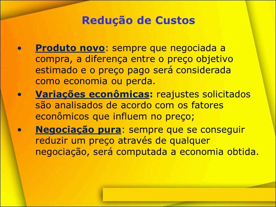 Redução de Custos Alteração da data de validade: os reajustes solicitados pelos fornecedores podem ser adiados ou parcelados; o material entregue no período anterior ao aumento integral é considerado como economia.