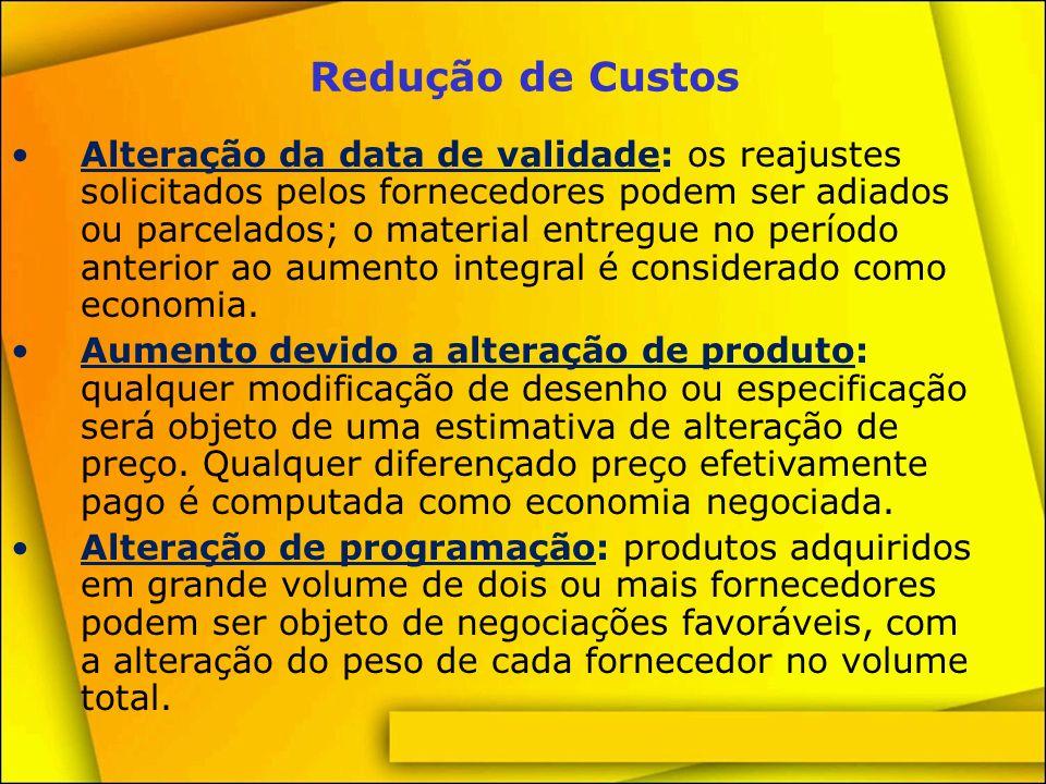 Redução de Custos Condições de pagamento: qualquer aumento do prazo de pagamento sem juros adicionais é computado também como economia negociada; para o cálculo.