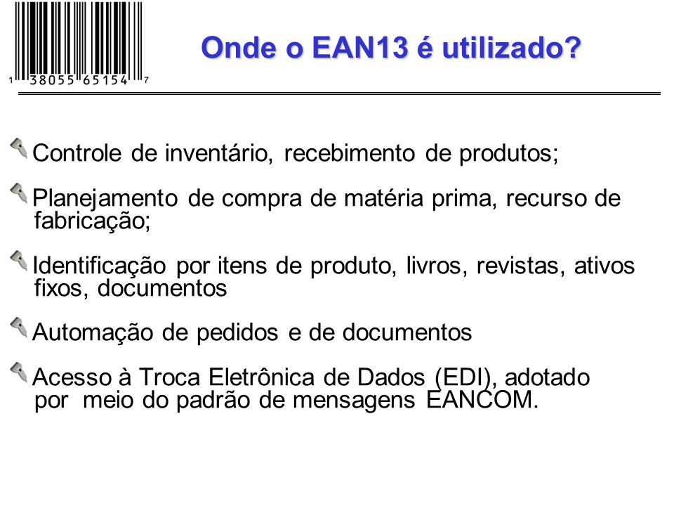 Controle de inventário, recebimento de produtos; Planejamento de compra de matéria prima, recurso de fabricação; Identificação por itens de produto, l
