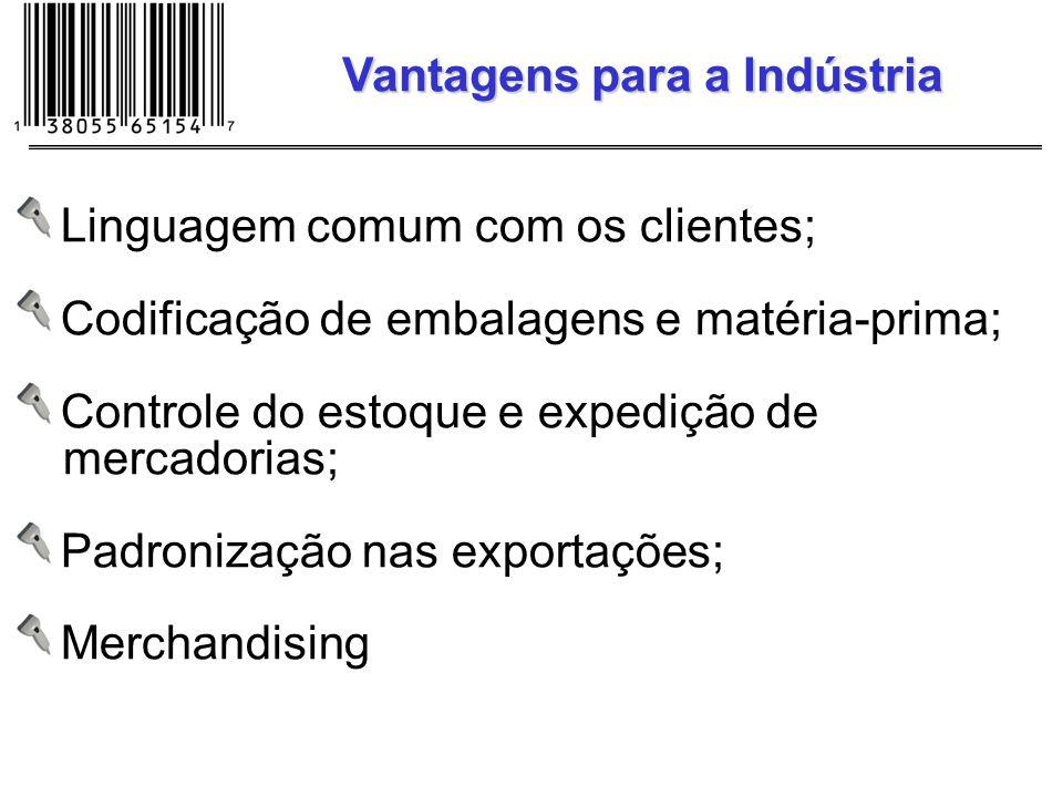 Linguagem comum com os clientes; Codificação de embalagens e matéria-prima; Controle do estoque e expedição de mercadorias; Padronização nas exportaçõ