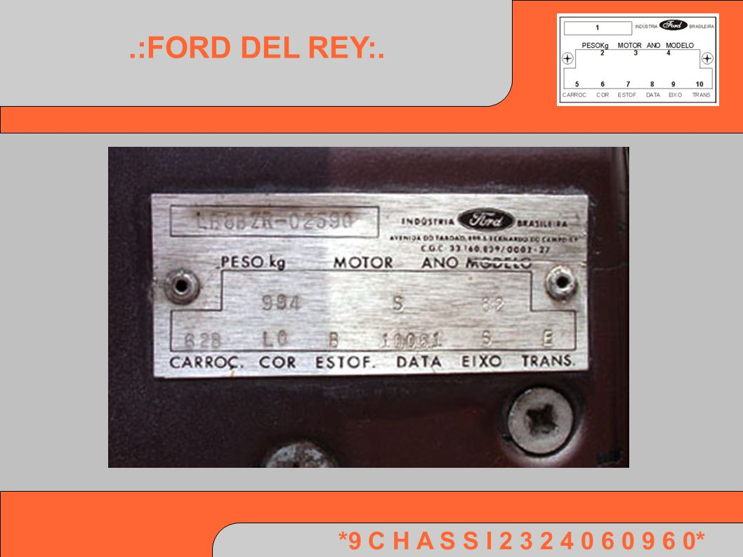 *9 C H A S S I 2 3 2 4 0 6 0 9 6 0*.:FORD DEL REY:.