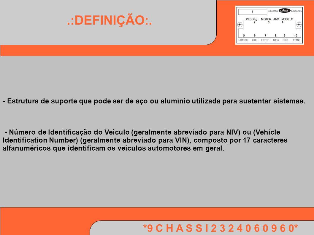 *9 C H A S S I 2 3 2 4 0 6 0 9 6 0*.:DEFINIÇÃO:. - Estrutura de suporte que pode ser de aço ou alumínio utilizada para sustentar sistemas. - Número de