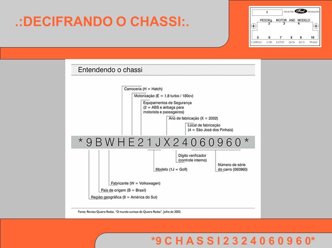 *9 C H A S S I 2 3 2 4 0 6 0 9 6 0*.:NÚMERO DE CHASSI:.