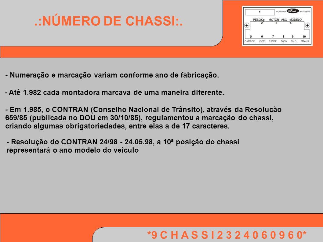 *9 C H A S S I 2 3 2 4 0 6 0 9 6 0*.:NÚMERO DE CHASSI:. - Numeração e marcação variam conforme ano de fabricação. - Até 1.982 cada montadora marcava d