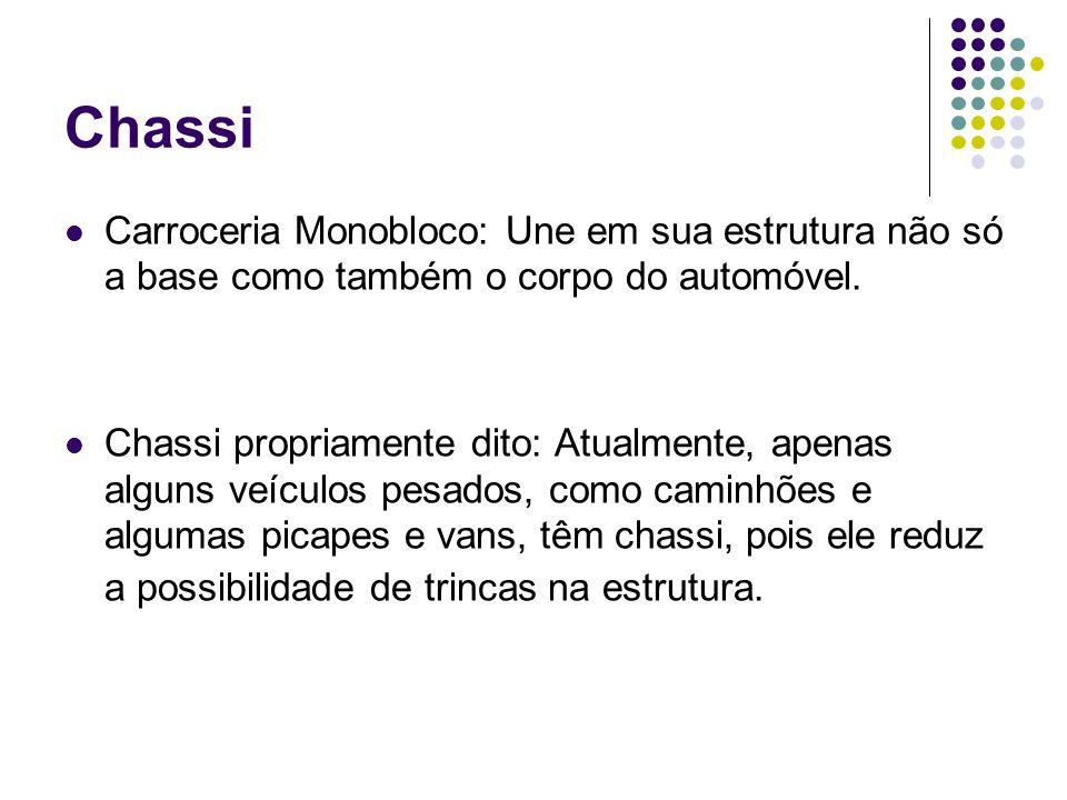 Chassi Carroceria Monobloco: Une em sua estrutura não só a base como também o corpo do automóvel. Chassi propriamente dito: Atualmente, apenas alguns