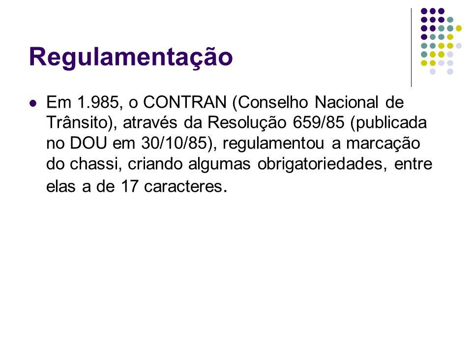 Regulamentação Em 1.985, o CONTRAN (Conselho Nacional de Trânsito), através da Resolução 659/85 (publicada no DOU em 30/10/85), regulamentou a marcaçã