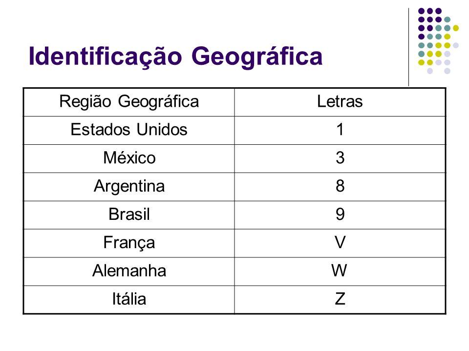 Identificação Geográfica Região GeográficaLetras Estados Unidos1 México3 Argentina8 Brasil9 FrançaV AlemanhaW ItáliaZ