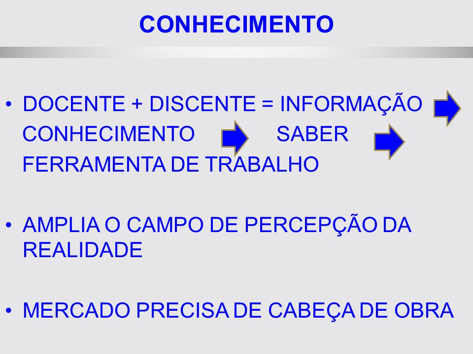 CONHECIMENTO DOCENTE + DISCENTE = INFORMAÇÃO CONHECIMENTO SABER FERRAMENTA DE TRABALHO AMPLIA O CAMPO DE PERCEPÇÃO DA REALIDADE MERCADO PRECISA DE CABEÇA DE OBRA