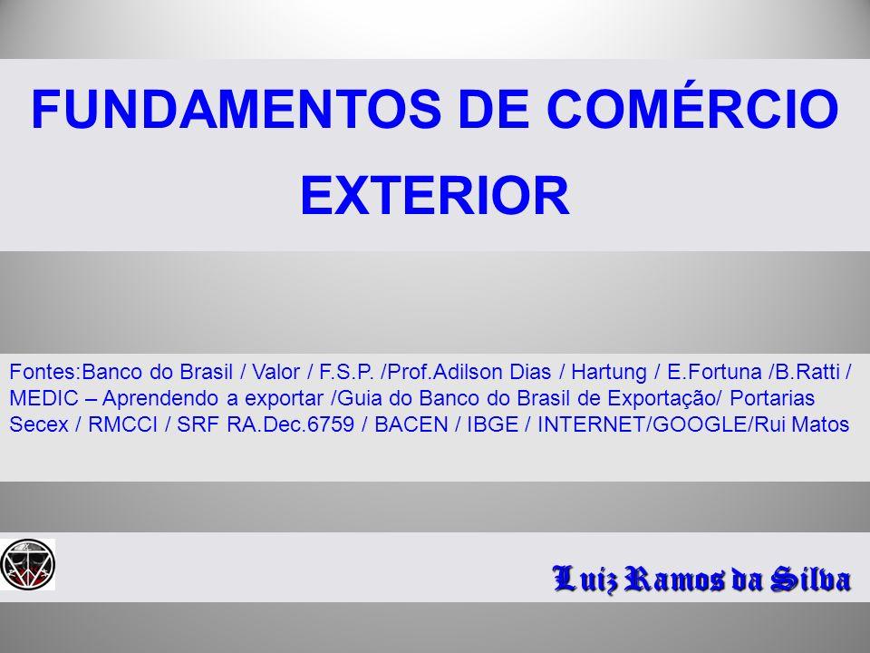 FUNDAMENTOS DE COMÉRCIO EXTERIOR Luiz Ramos da Silva Fontes:Banco do Brasil / Valor / F.S.P. /Prof.Adilson Dias / Hartung / E.Fortuna /B.Ratti / MEDIC
