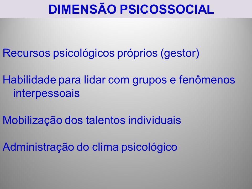 DIMENSÃO PSICOSSOCIAL Recursos psicológicos próprios (gestor) Habilidade para lidar com grupos e fenômenos interpessoais Mobilização dos talentos individuais Administração do clima psicológico