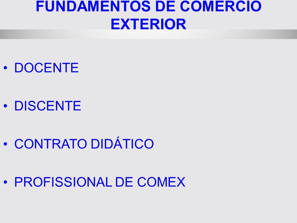 FUNDAMENTOS DE COMÉRCIO EXTERIOR DOCENTE DISCENTE CONTRATO DIDÁTICO PROFISSIONAL DE COMEX