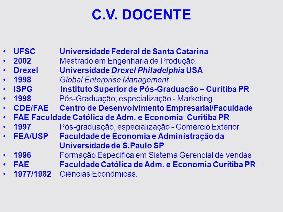 C.V. DOCENTE UFSCUniversidade Federal de Santa Catarina 2002Mestrado em Engenharia de Produção. Drexel Universidade Drexel Philadelphia USA 1998Global