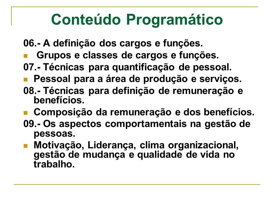 06.- A definição dos cargos e funções. Grupos e classes de cargos e funções. 07.- Técnicas para quantificação de pessoal. Pessoal para a área de produ