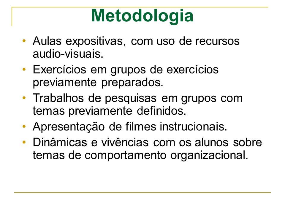 Metodologia Aulas expositivas, com uso de recursos audio-visuais. Exercícios em grupos de exercícios previamente preparados. Trabalhos de pesquisas em