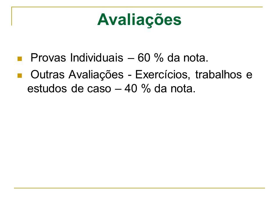 Avaliações Provas Individuais – 60 % da nota. Outras Avaliações - Exercícios, trabalhos e estudos de caso – 40 % da nota.