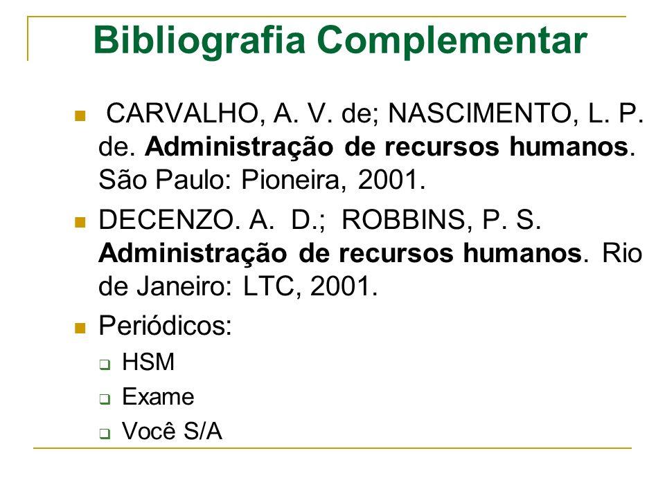 Bibliografia Complementar CARVALHO, A. V. de; NASCIMENTO, L. P. de. Administração de recursos humanos. São Paulo: Pioneira, 2001. DECENZO. A. D.; ROBB