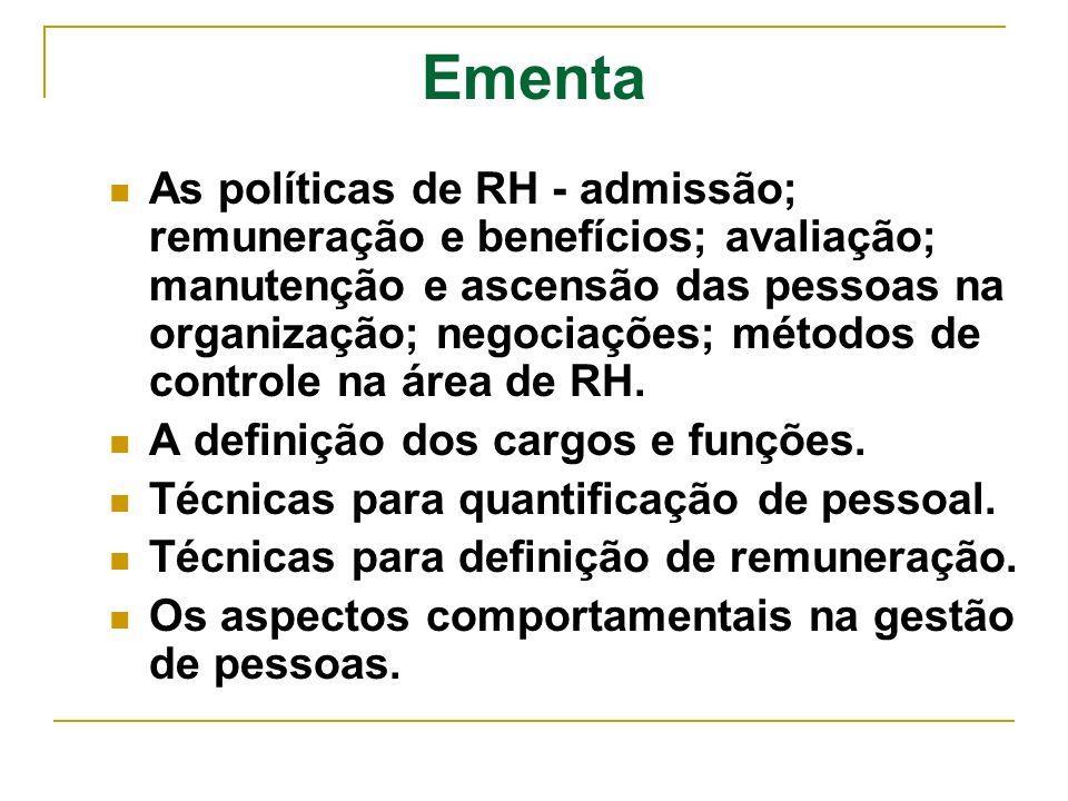 Ementa As políticas de RH - admissão; remuneração e benefícios; avaliação; manutenção e ascensão das pessoas na organização; negociações; métodos de c