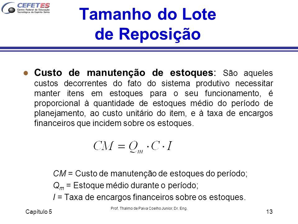 Capítulo 5 Prof. Thalmo de Paiva Coelho Junior, Dr. Eng. 13 Tamanho do Lote de Reposição l Custo de manutenção de estoques: São aqueles custos decorre