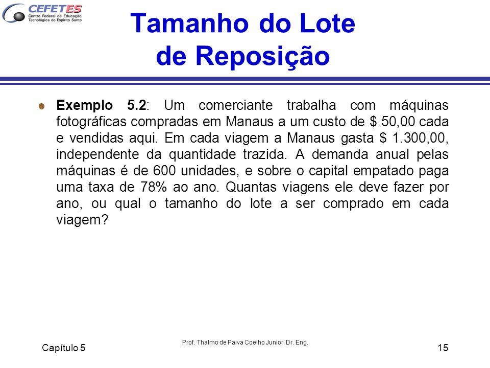 Capítulo 5 Prof. Thalmo de Paiva Coelho Junior, Dr. Eng. 15 Tamanho do Lote de Reposição l Exemplo 5.2: Um comerciante trabalha com máquinas fotográfi