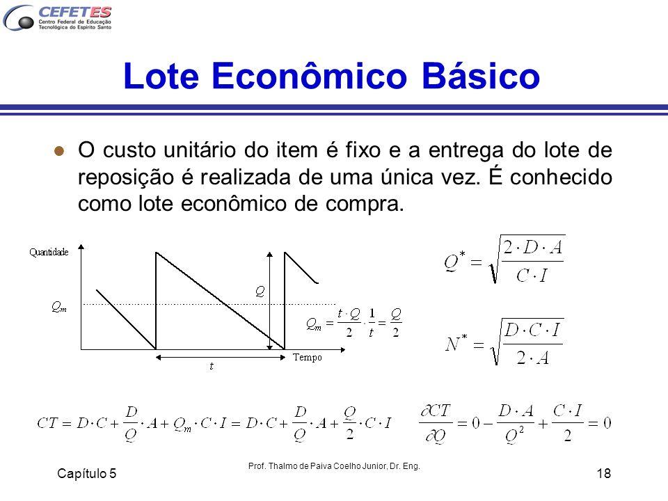 Capítulo 5 Prof. Thalmo de Paiva Coelho Junior, Dr. Eng. 18 Lote Econômico Básico l O custo unitário do item é fixo e a entrega do lote de reposição é