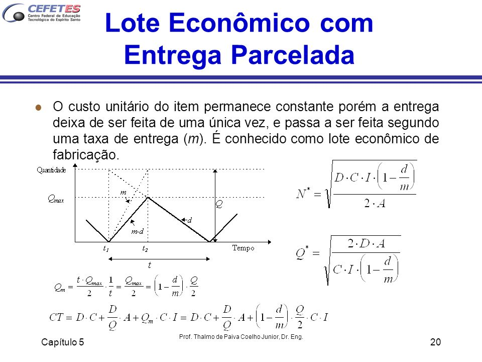 Capítulo 5 Prof. Thalmo de Paiva Coelho Junior, Dr. Eng. 20 Lote Econômico com Entrega Parcelada l O custo unitário do item permanece constante porém