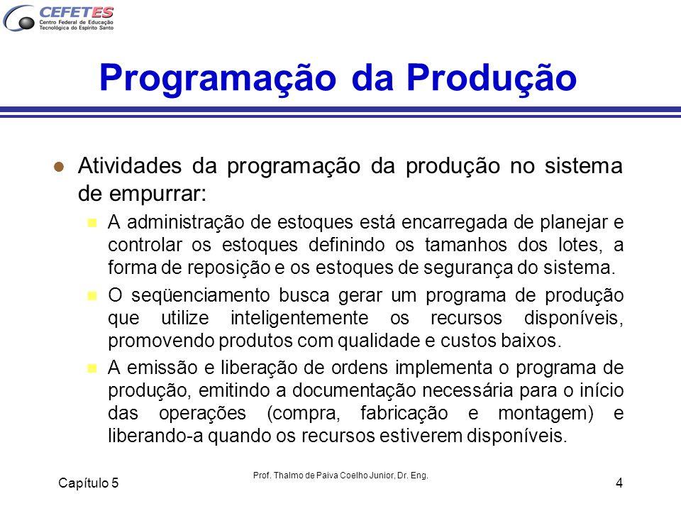 Capítulo 5 Prof. Thalmo de Paiva Coelho Junior, Dr. Eng. 4 Programação da Produção l Atividades da programação da produção no sistema de empurrar: n A