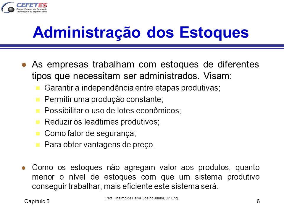 Capítulo 5 Prof. Thalmo de Paiva Coelho Junior, Dr. Eng. 6 Administração dos Estoques l As empresas trabalham com estoques de diferentes tipos que nec