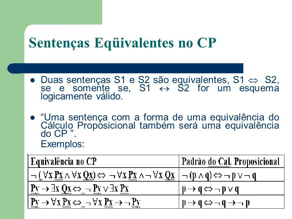Sentenças Eqüivalentes no CP Duas sentenças S1 e S2 são equivalentes, S1 S2, se e somente se, S1 S2 for um esquema logicamente válido. Uma sentença co