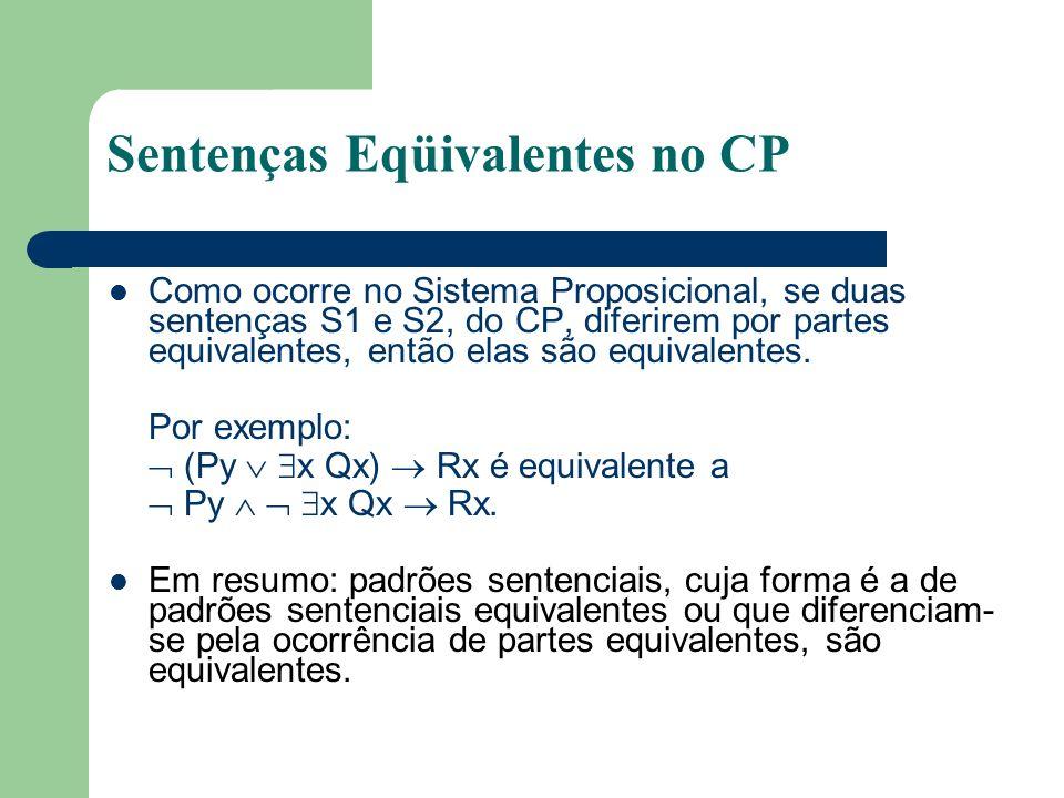 Sentenças Eqüivalentes no CP Como ocorre no Sistema Proposicional, se duas sentenças S1 e S2, do CP, diferirem por partes equivalentes, então elas são