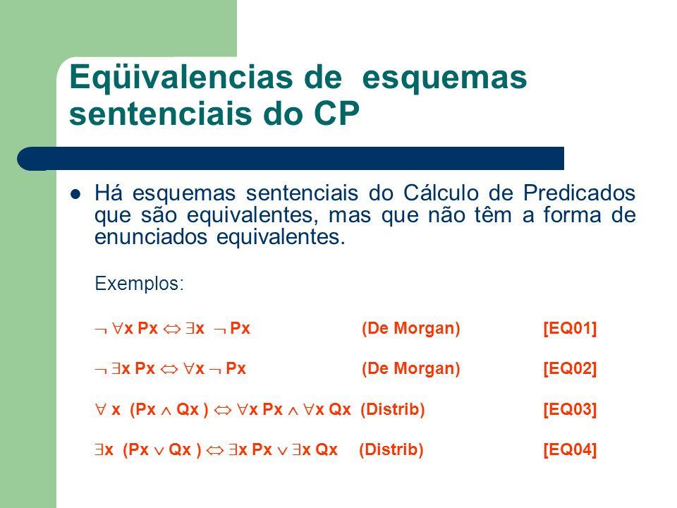Eqüivalencias de esquemas sentenciais do CP Há esquemas sentenciais do Cálculo de Predicados que são equivalentes, mas que não têm a forma de enunciad