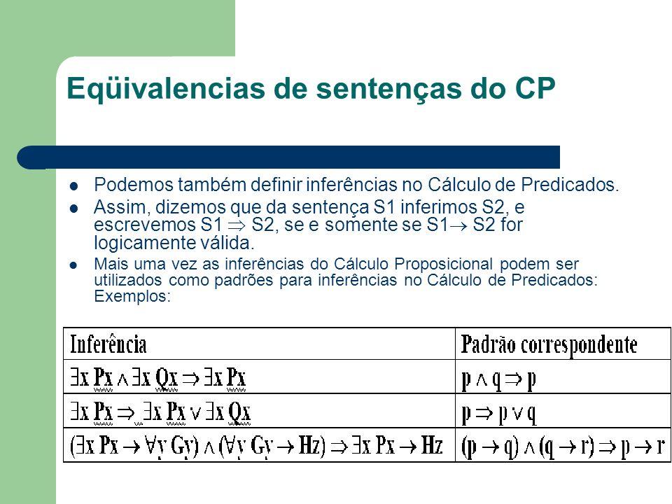 Eqüivalencias de sentenças do CP Podemos também definir inferências no Cálculo de Predicados. Assim, dizemos que da sentença S1 inferimos S2, e escrev