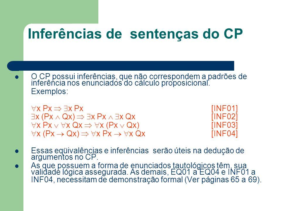 Inferências de sentenças do CP O CP possui inferências, que não correspondem a padrões de inferência nos enunciados do cálculo proposicional. Exemplos