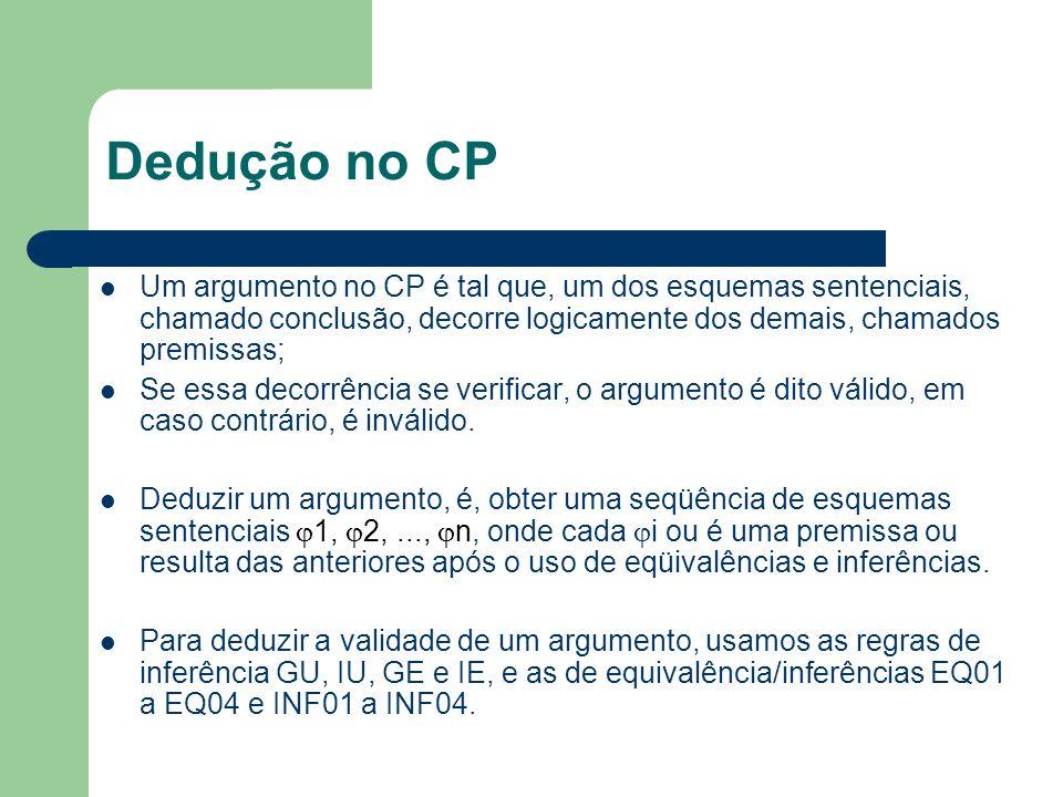 Dedução no CP Um argumento no CP é tal que, um dos esquemas sentenciais, chamado conclusão, decorre logicamente dos demais, chamados premissas; Se ess