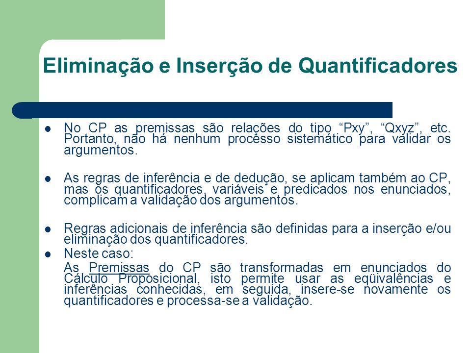 Eliminação e Inserção de Quantificadores No CP as premissas são relações do tipo Pxy, Qxyz, etc. Portanto, não há nenhum processo sistemático para val