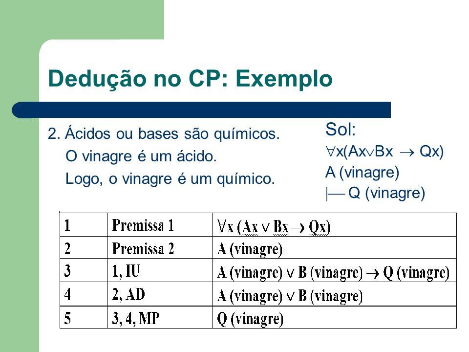 Dedução no CP: Exemplo 2. Ácidos ou bases são químicos. O vinagre é um ácido. Logo, o vinagre é um químico. Sol: x(Ax Bx Qx) A (vinagre) Q (vinagre)
