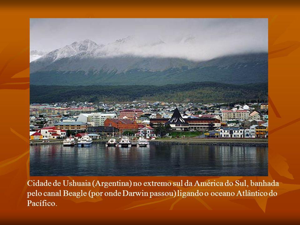 Cidade de Ushuaia (Argentina) no extremo sul da América do Sul, banhada pelo canal Beagle (por onde Darwin passou) ligando o oceano Atlântico do Pacíf