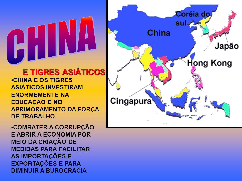 E TIGRES ASIÁTICOS CHINA E OS TIGRES ASIÁTICOS INVESTIRAM ENORMEMENTE NA EDUCAÇÃO E NO APRIMORAMENTO DA FORÇA DE TRABALHO. COMBATER A CORRUPÇÃO E ABRI