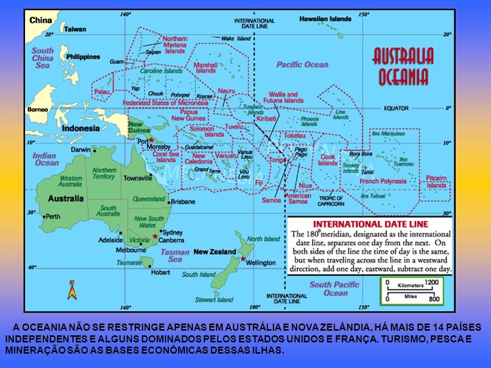 A OCEANIA NÃO SE RESTRINGE APENAS EM AUSTRÁLIA E NOVA ZELÂNDIA, HÁ MAIS DE 14 PAÍSES INDEPENDENTES E ALGUNS DOMINADOS PELOS ESTADOS UNIDOS E FRANÇA. T