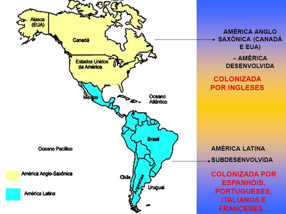 AMÉRICA ANGLO SAXÔNICA (CANADÁ E EUA) – AMÉRICA DESENVOLVIDA AMÉRICA LATINA SUBDESENVOLVIDA COLONIZADA POR INGLESES COLONIZADA POR ESPANHÓIS, PORTUGUE