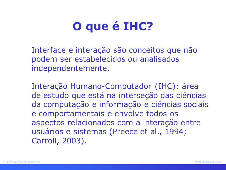 INTERFACE HOMEM-MÁQUINA PROFESSOR SAMUKA Interface e interação são conceitos que não podem ser estabelecidos ou analisados independentemente. Interaçã