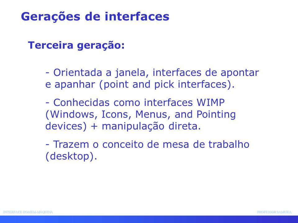 INTERFACE HOMEM-MÁQUINA PROFESSOR SAMUKA - Orientada a janela, interfaces de apontar e apanhar (point and pick interfaces). - Conhecidas como interfac